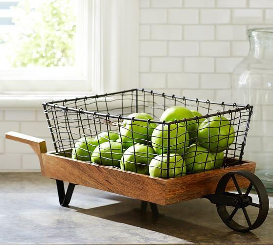 Vintage Blacksmith Wheelbarrow Storage Basket | Pottery Barn...use As Fruit  Bowl