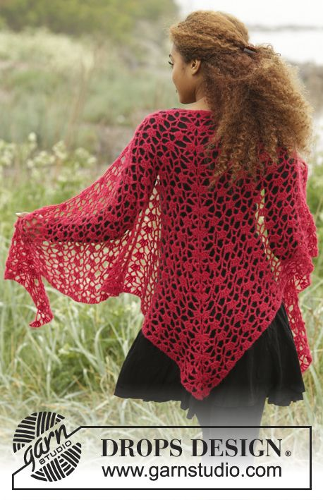 Drops 172 11 Crochet Shawl With Lace Pattern In Brushed Alpaca Silk