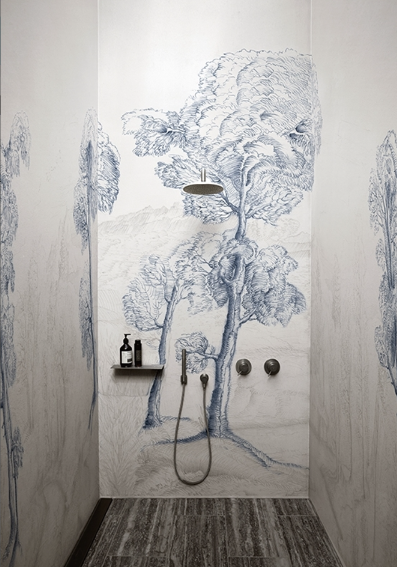 Alternatives To Tiling Your Bathrooms Waterproof Wallcoverings The Interior Editor Wallpaper Designs For Walls Contemporary Wallpaper Wall Deco