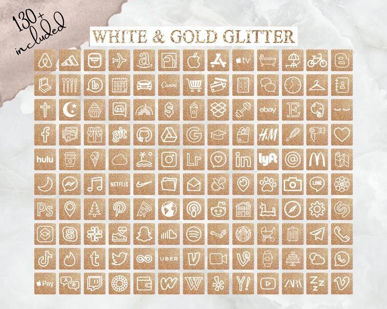 IOS14 App Icons Gold Glitter, IOS 14 Icons, App Co