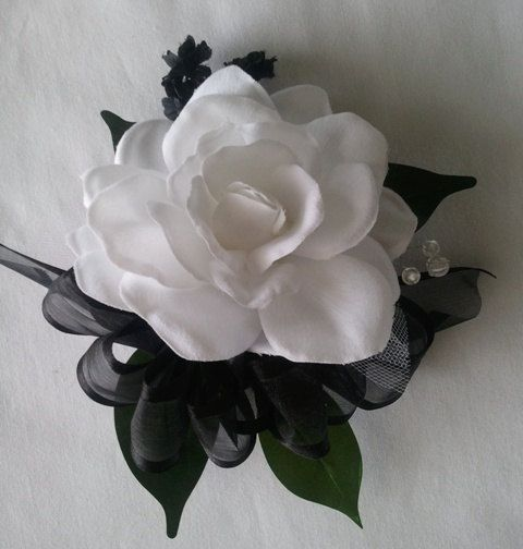 Wrist Corsage Black White Gardenia Wedding Bridal Flowers Mother