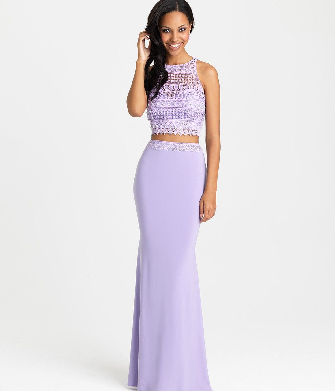 Lilac Purple Halter Two Piece Long Dress