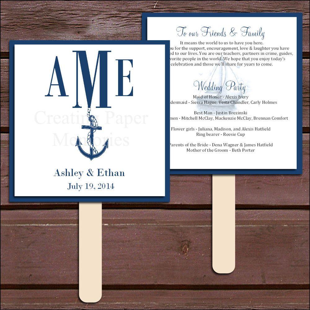 nautical wedding program fans wedding ideas wedding ideas