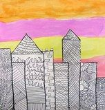 Patterned Cityscapes by 4th grade.  So vibrant.  I love it!  Beautiful cityscape Carly.