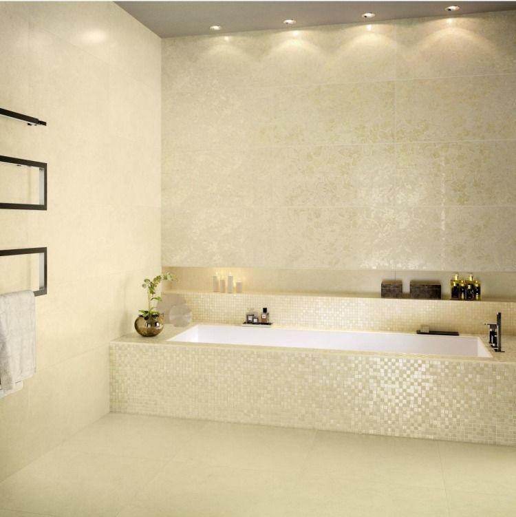 carrelage salle de bain beige brillant