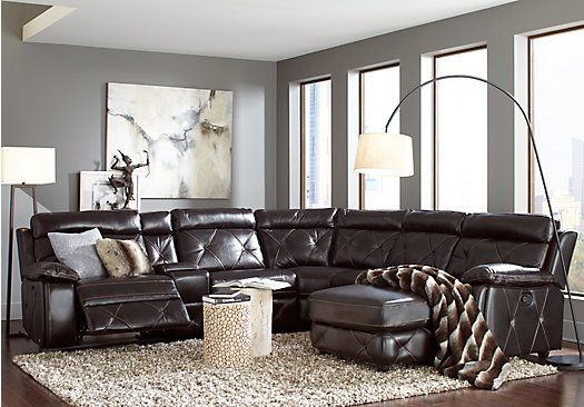 Picture Of Cindy Crawford Wilshire Place Black Cherry 6pc Reclining From Leather Sectionals Furniture