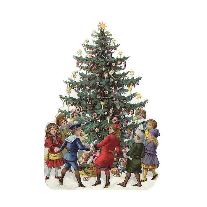 Children with christmas tree die cut card from vintage - Traditional german christmas tree decorations ...