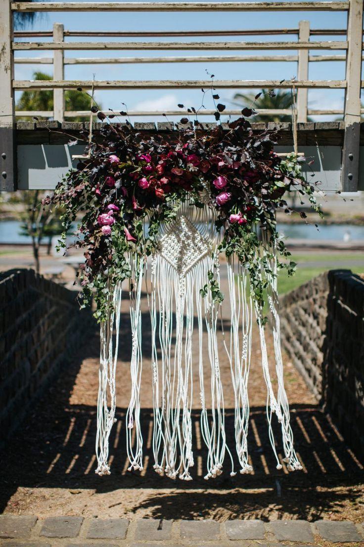 Wedding decorations backdrop  Macrame floral wedding backdrop  craftinu  Pinterest  Floral