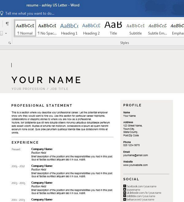 Personalize a Modern Resume Template in MS Word - Envato ...