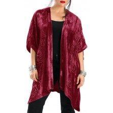 Ruby Red Antonia Velvet Kimono
