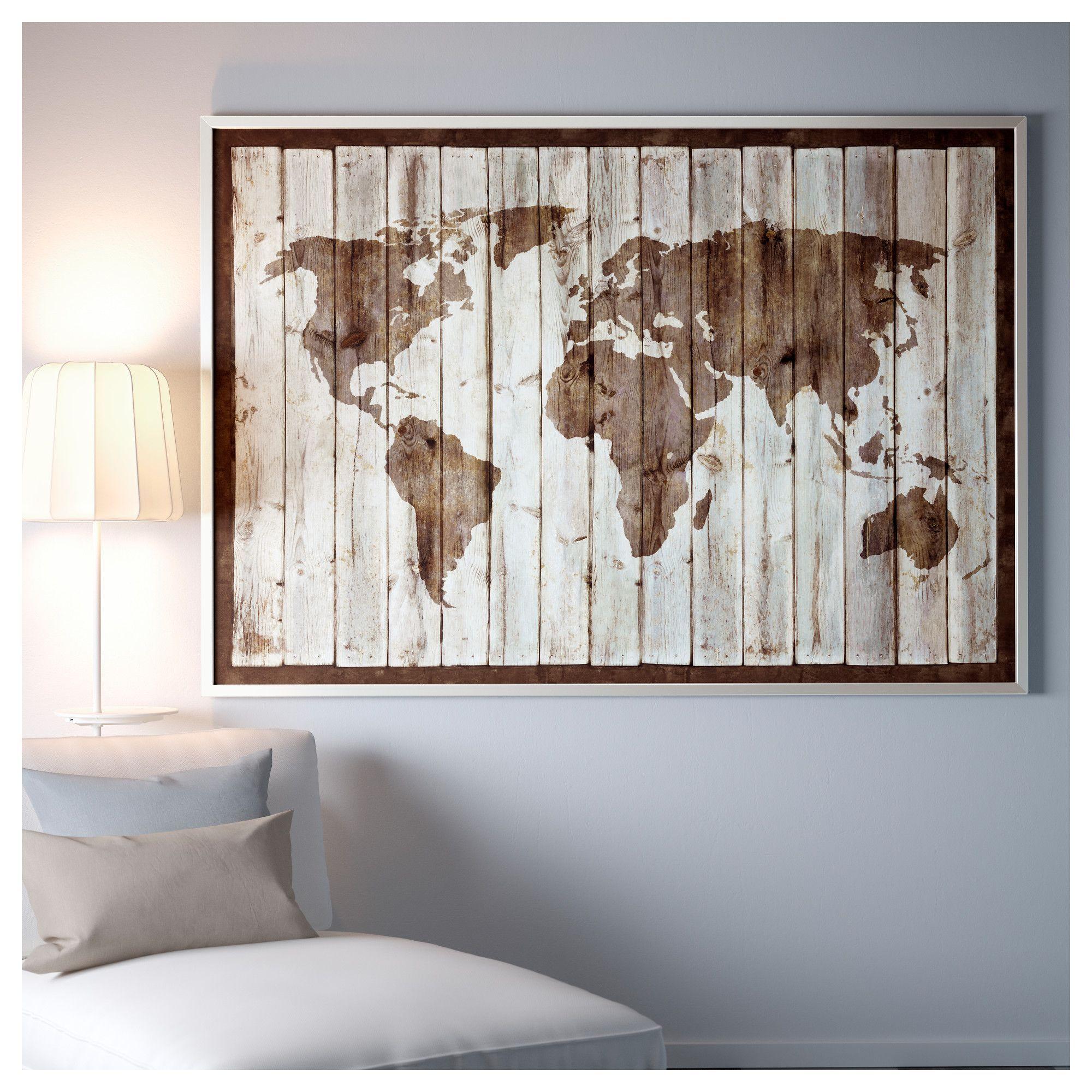 Ikea Bjorksta Picture And Frame Driftwood Map Aluminium Colour