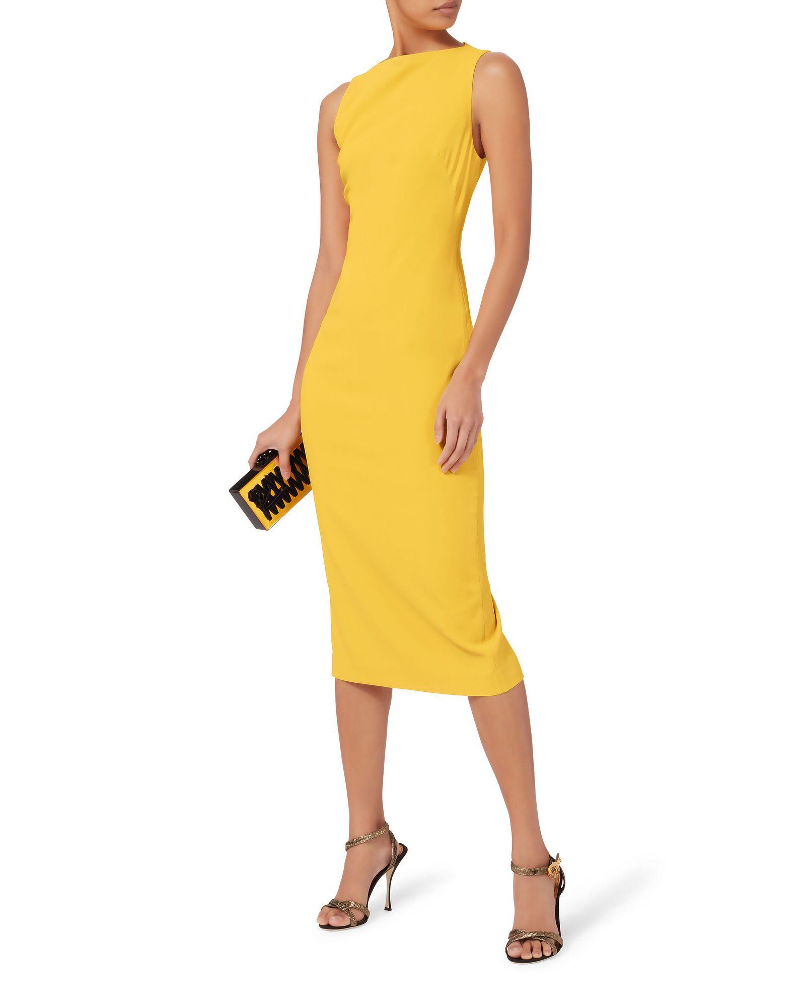 a60eb0c1fa73 Yellow Sheath Midi Dress