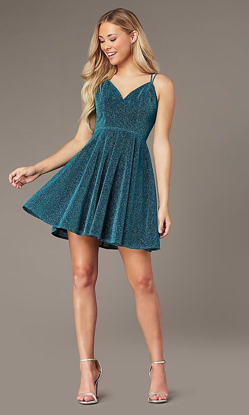 Short GlitterKnit Homecoming Dress - Homecoming dresses sparkly, Hoco dresses homecoming, Cute formal dresses, Semi formal dresses for teens, Metallic party dresses, Glitter homecoming dress - Be eyecatching in this short glitterknit homecoming dress that shimmers with your every move  From the vneckline to the hem of the flirty short aline skirt, this cute dress is sure to dazzle at your semiformal event  Thin straps provide subtle support as they double before draping over the shoulders and create a strappy corset design in back  You're sure to draw an admiring eye or two in this short glitterknit homecoming dress at hoco 2020, a holiday celebration, or a sweetsixteen party