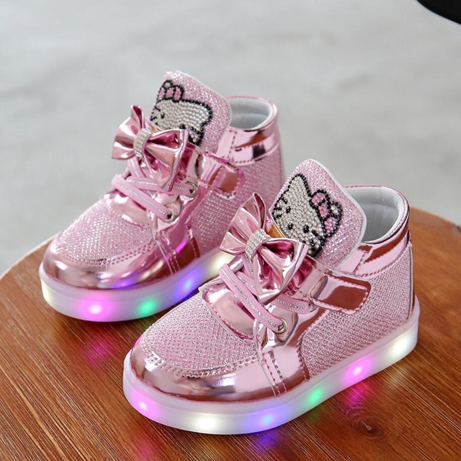 Nuovi Bambini Illuminati Scarpe Casual Di Alta Strass Ciao Gattino Per Le Ragazze Dei Capretti Del Zapatos Con Luces Zapatillas De Ninas Zapatos Para Bebe Nina