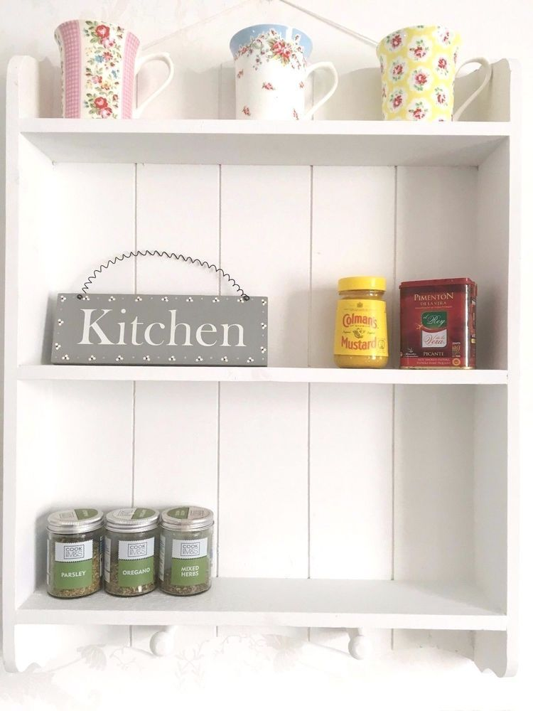 Shabby Chic Wall Unit Kitchen Shelf Cupboard Cabinet French Vintage Style White In Home Furniture Diy Furni Shabby Chic Wall Unit Kitchen Shelves Wall Unit