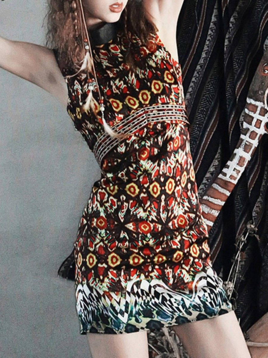 Aporia. AS Printed/Dyed Pleated Mini Dress