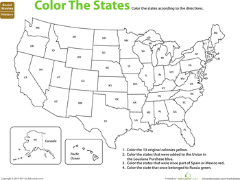 U.S. Expansion: Color by History | Map worksheets, Us map ...