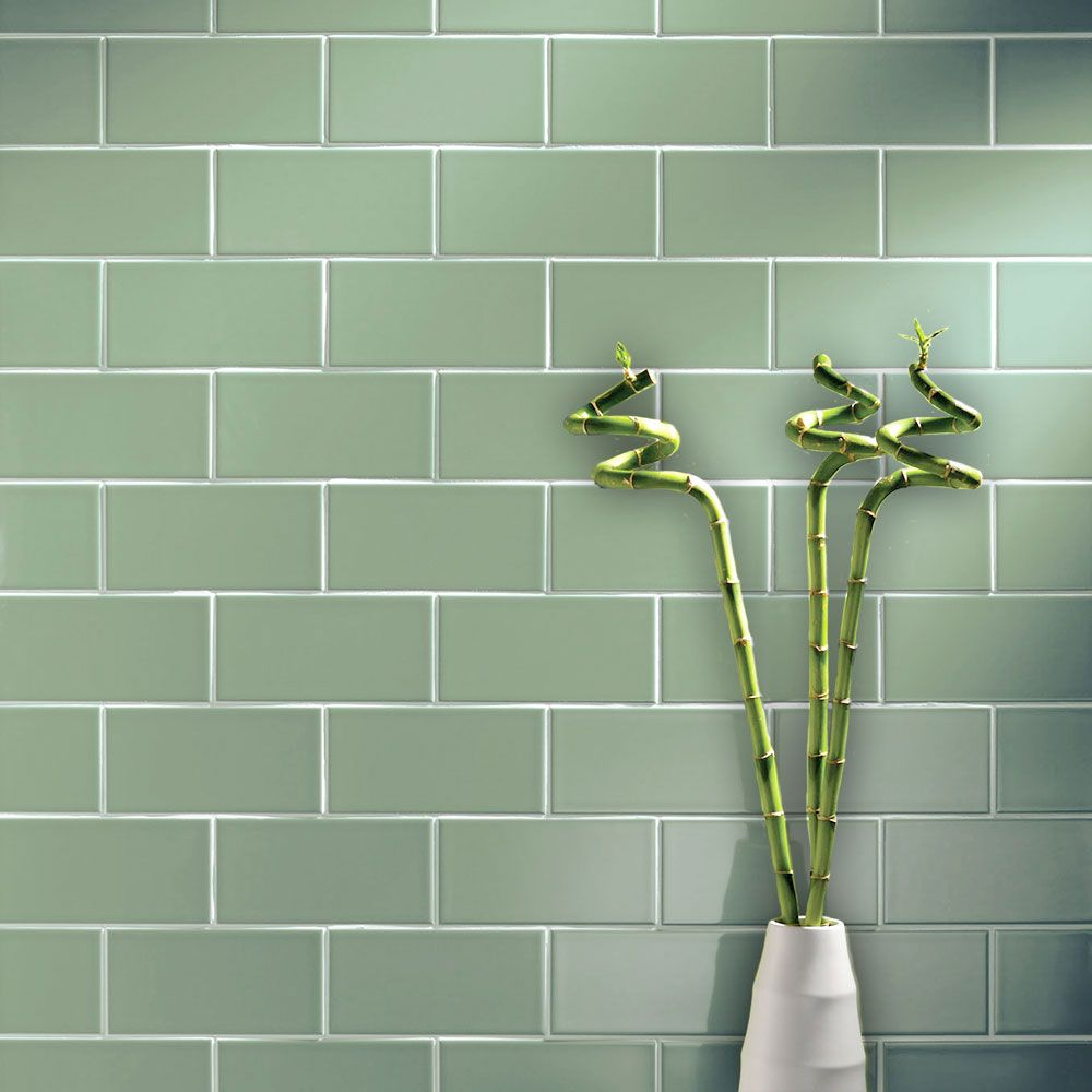 Greenwich Smooth Gloss 200x100 Green Tiles Walls And Floors Tile