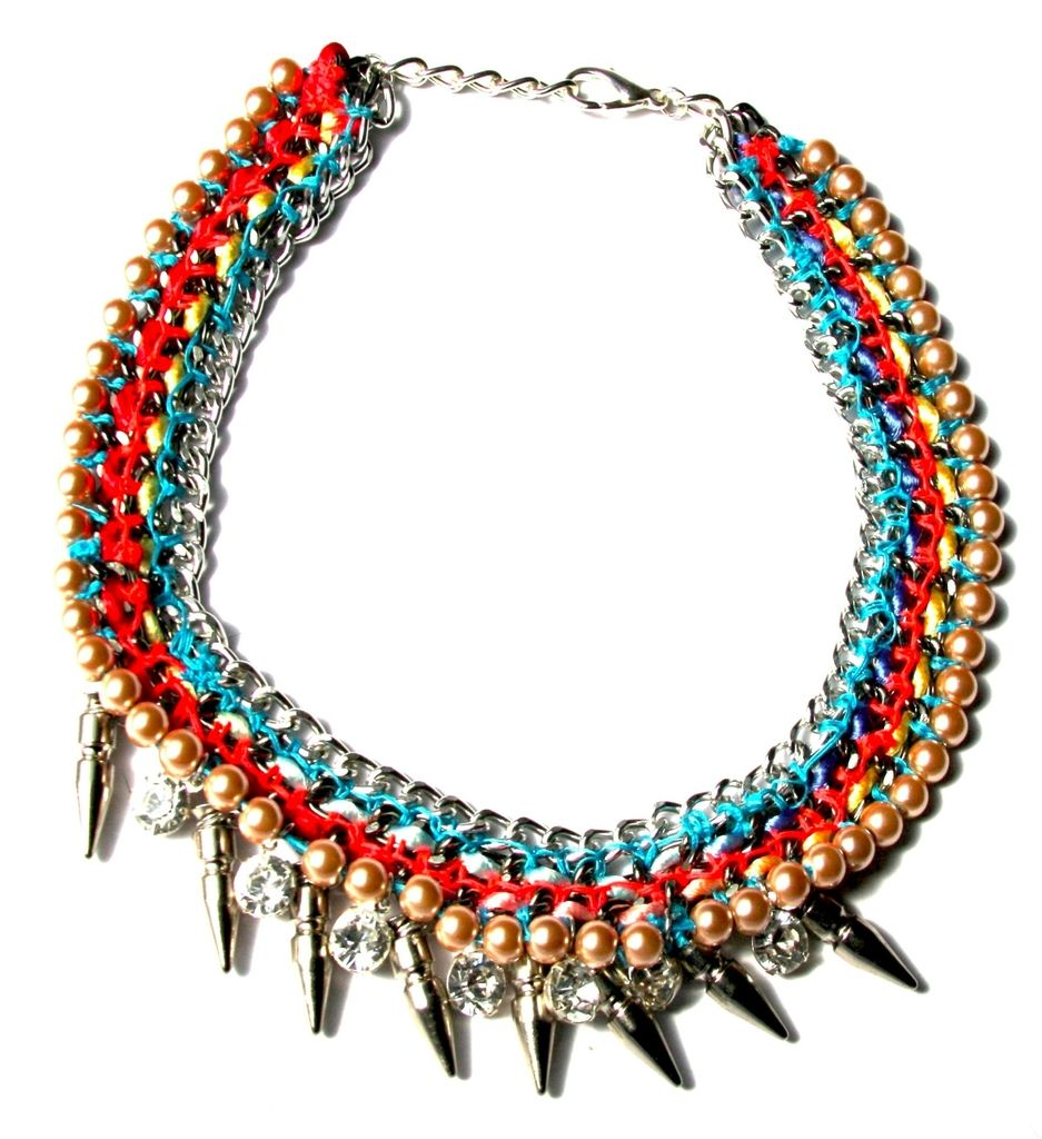 Nomad Collar, Red/Blue  by Assad Mounser