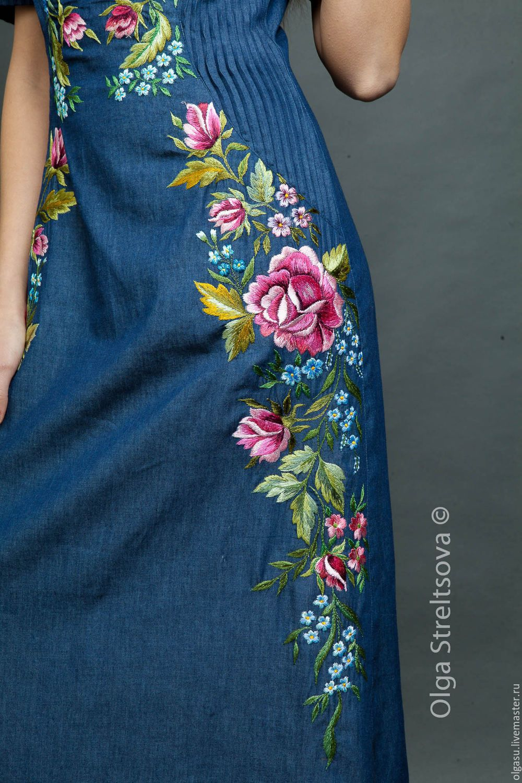 Платья ручной работы. Длинное платье с вышивкой тёмно-синее. Ручная вышивка от Ольги Стрельцовой. Интернет-магазин Ярмарка Мастеров.