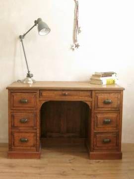 Bureau am ricain de taille moyenne ancien en bois de ch ne massif et 7 tiroirs il sera - Bureau bois ancien ...