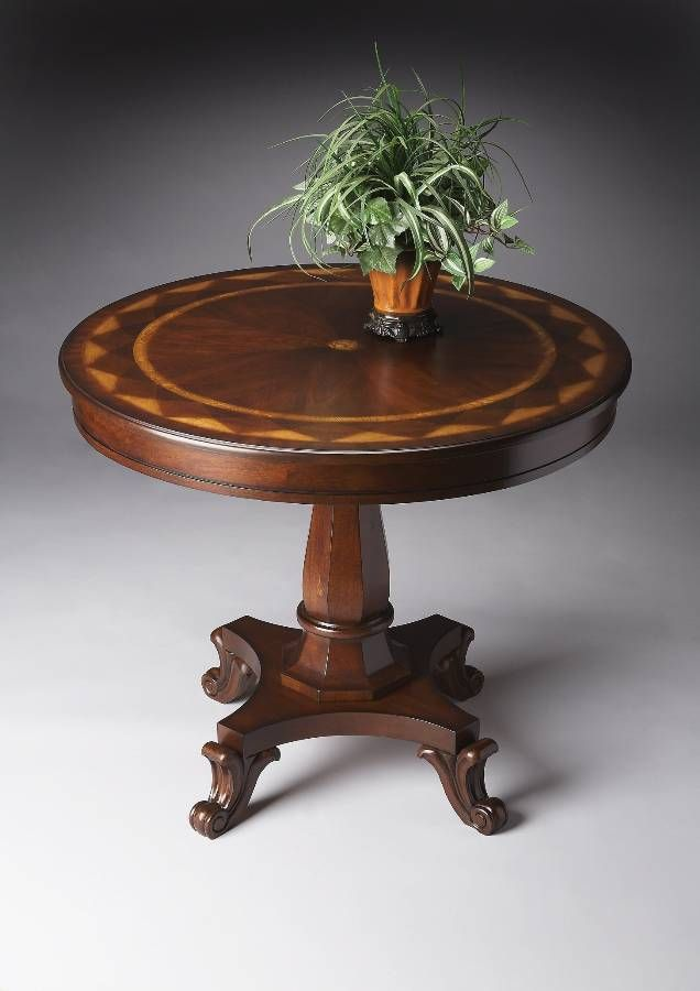 Elegant Hand Crafted Round Foyer Table In Plantation
