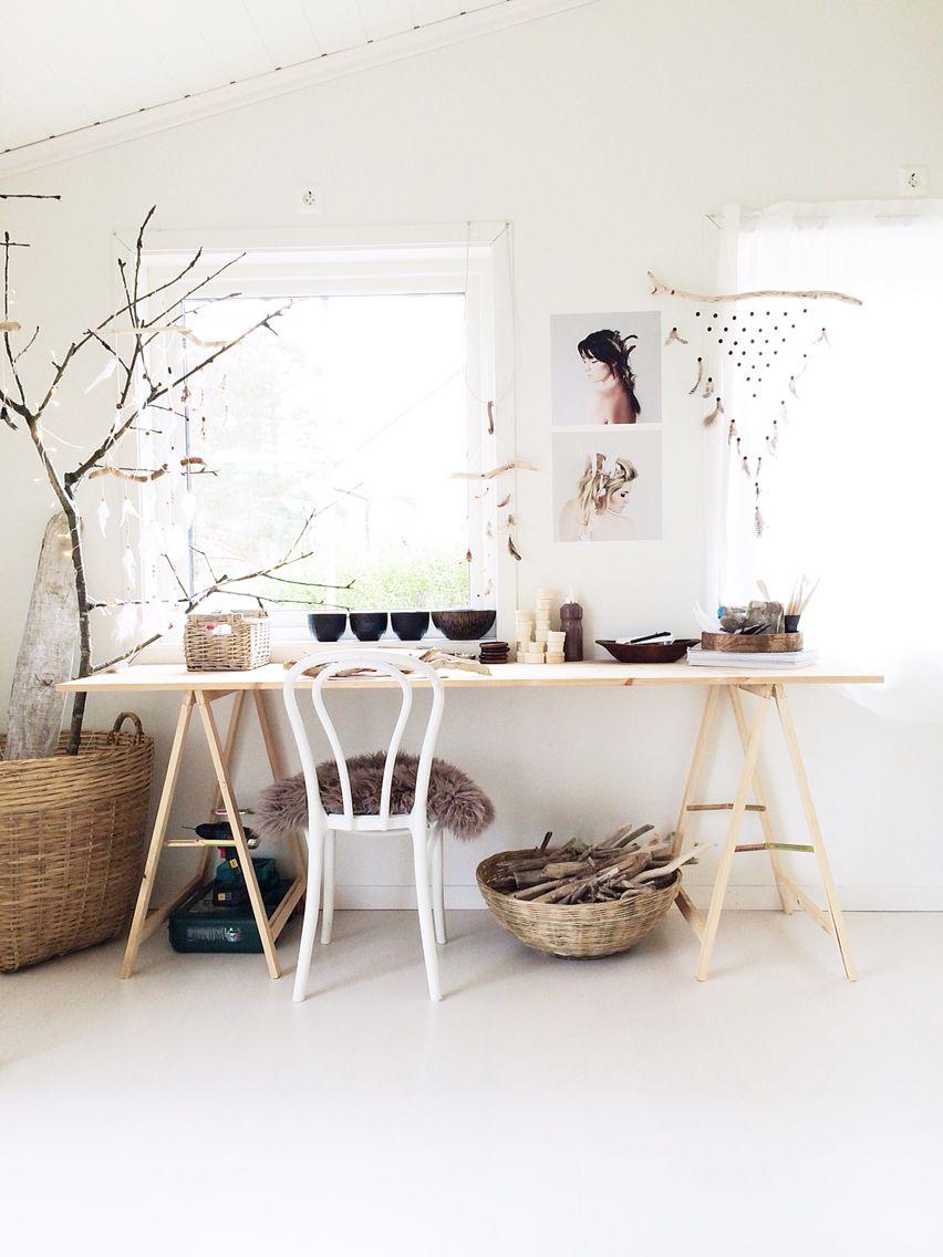 Diy Desk Pult Boho Bohemian Office Nordic Chic Desk Diy Desk Decor Desk Decor