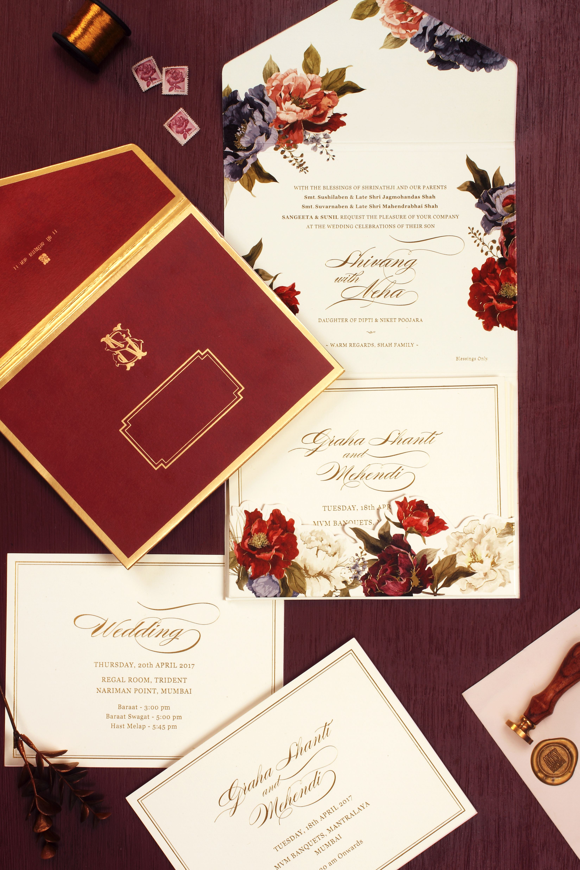 Indian Wedding Invitation- Wedding Invitation, Floral Pattern ...