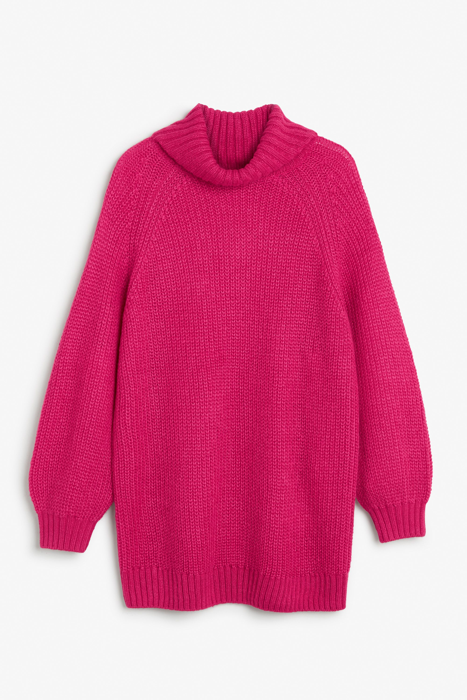 Monki Image 1 of Heavy knit sweater  in Pink Dark