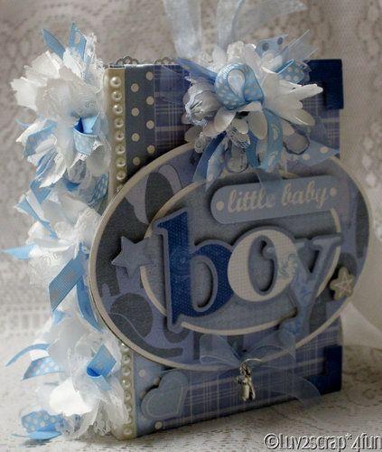 Momzcindy Little Baby Boy Shabby Premade Scrapbook Album