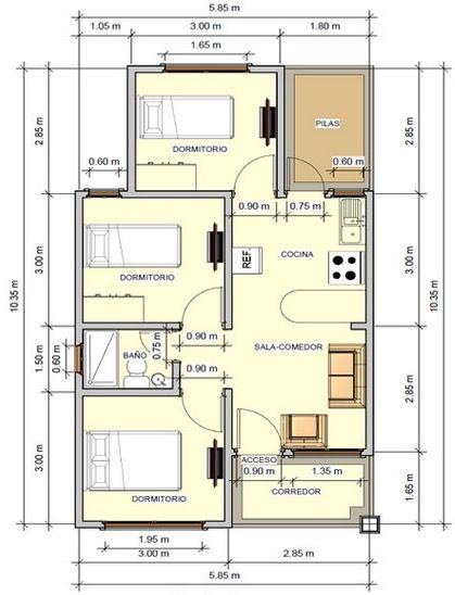 Plano De Casa Con Buena Distribuciã N De 59 M2 Con 3 Dormitorios Planos De Casas Planos De Casas Medidas Planos De Casas Economicas