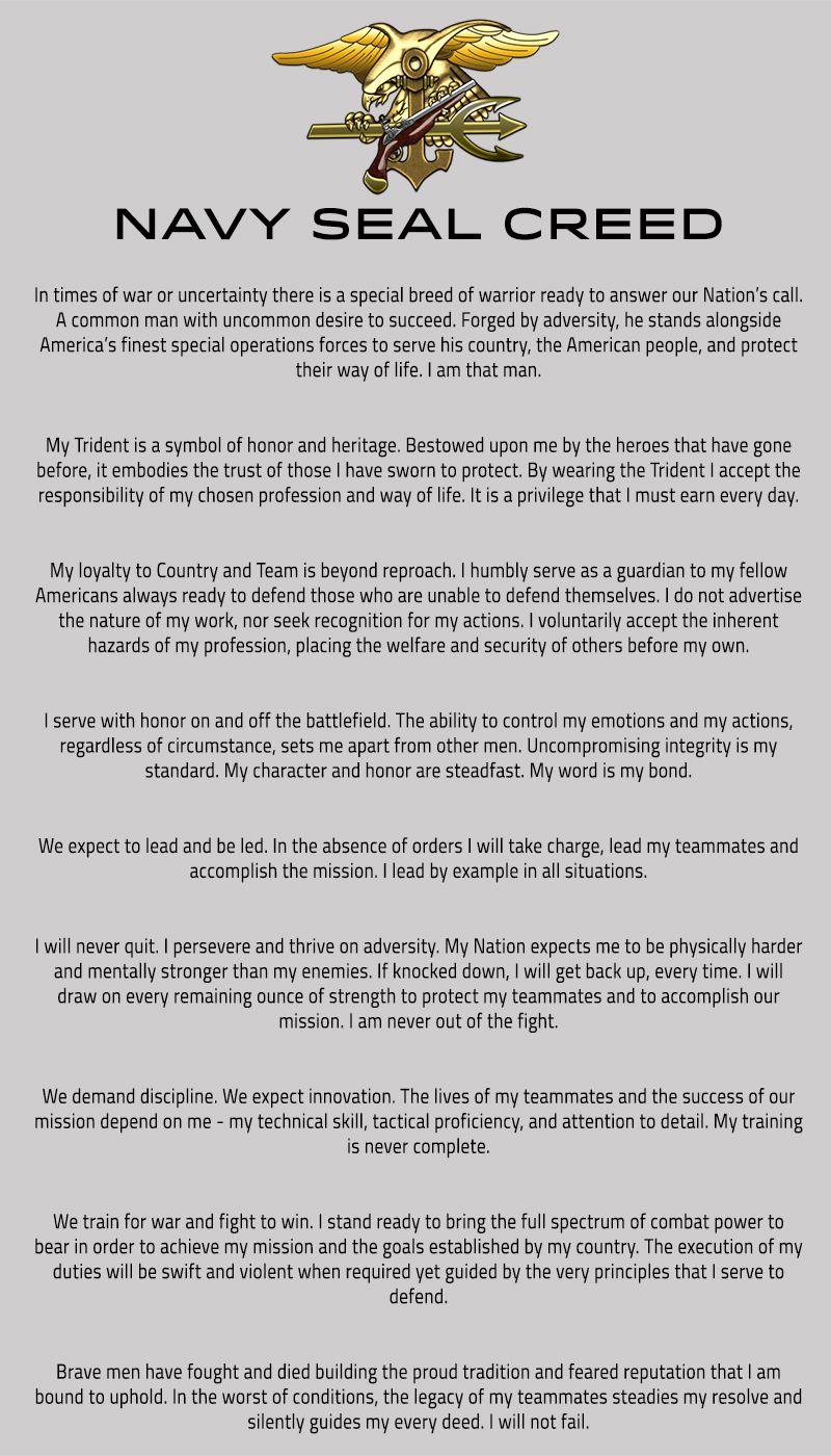 Navy Seal Creed V02 Leadership Pinterest Navy Seal Creed Navy