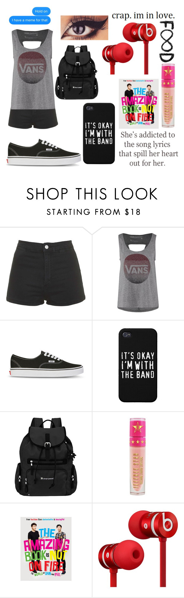 """""""Untitled #652"""" by xxghostlygracexx ❤ liked on Polyvore featuring Topshop, Vans, Sherpani, Jeffree Star and Beats by Dr. Dre"""