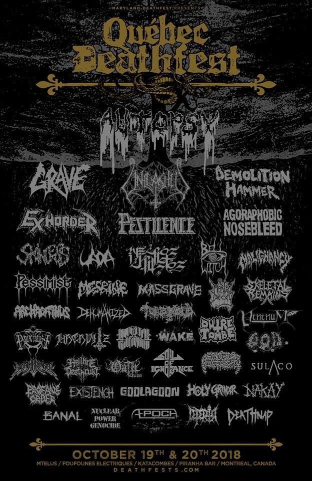 Grave Pestilence Bell Witch Amp More Added To Quebec