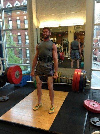 "Hugh Jackman Tweets Intimidating Weightlifting Photo ""If the bar ain't bendin, then you're just pretendin."""