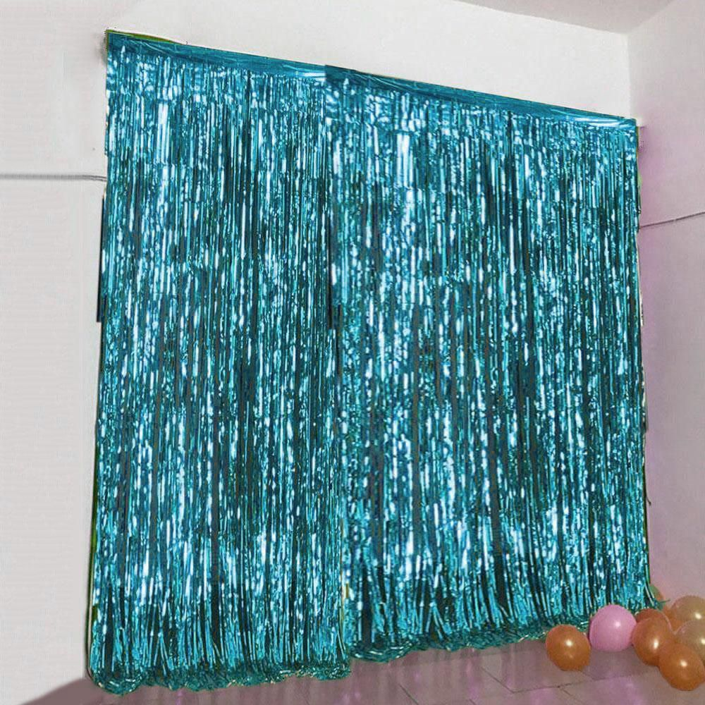 8ft Turquoise Metallic Foil Fringe Curtain With Images Curtain