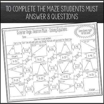 Exterior Angle Theorem Worksheet Solving Equations Maze Activity Solving Equations Angle Relationships Worksheet Law Of Cosines