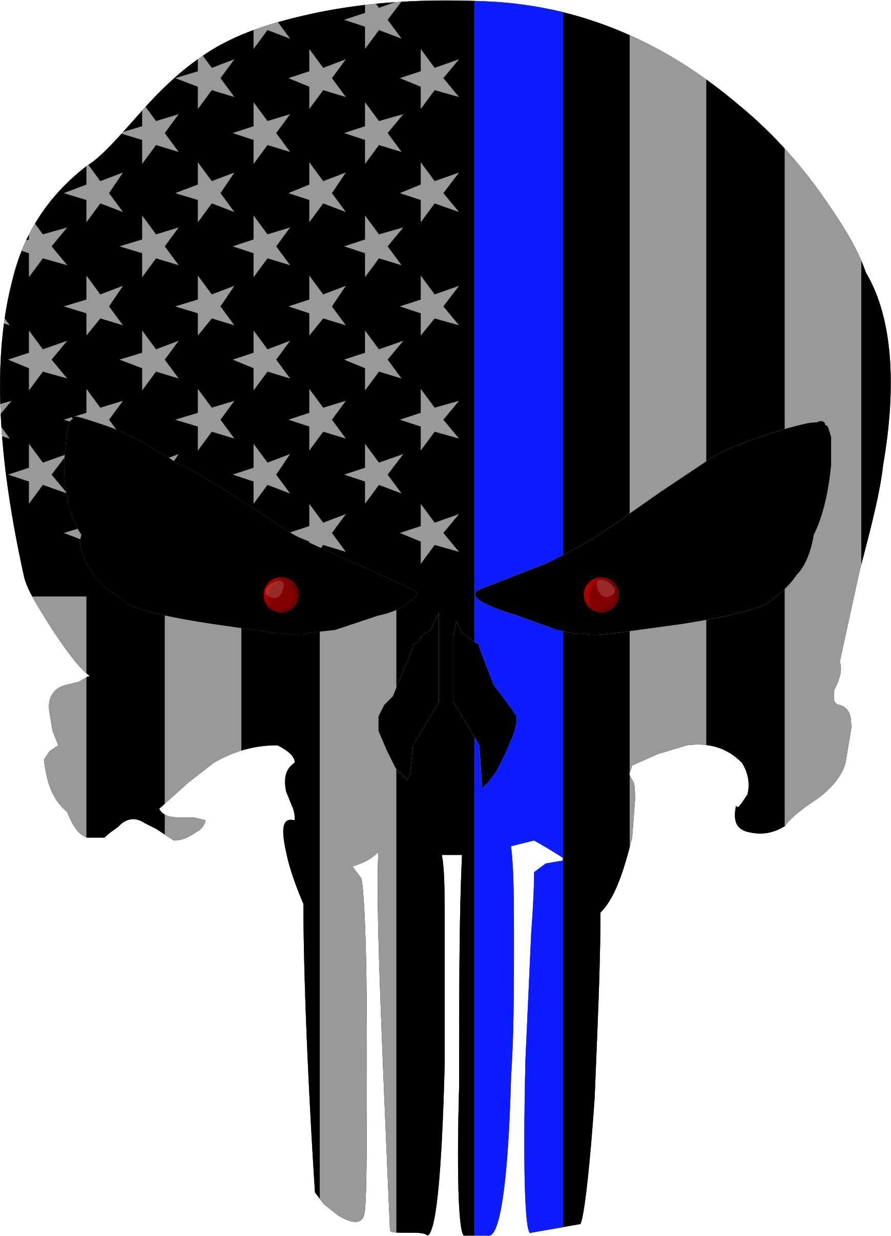 Amazon com subdued us flag punisher skull reflective decal with thin blue line 8x5 75 everything else