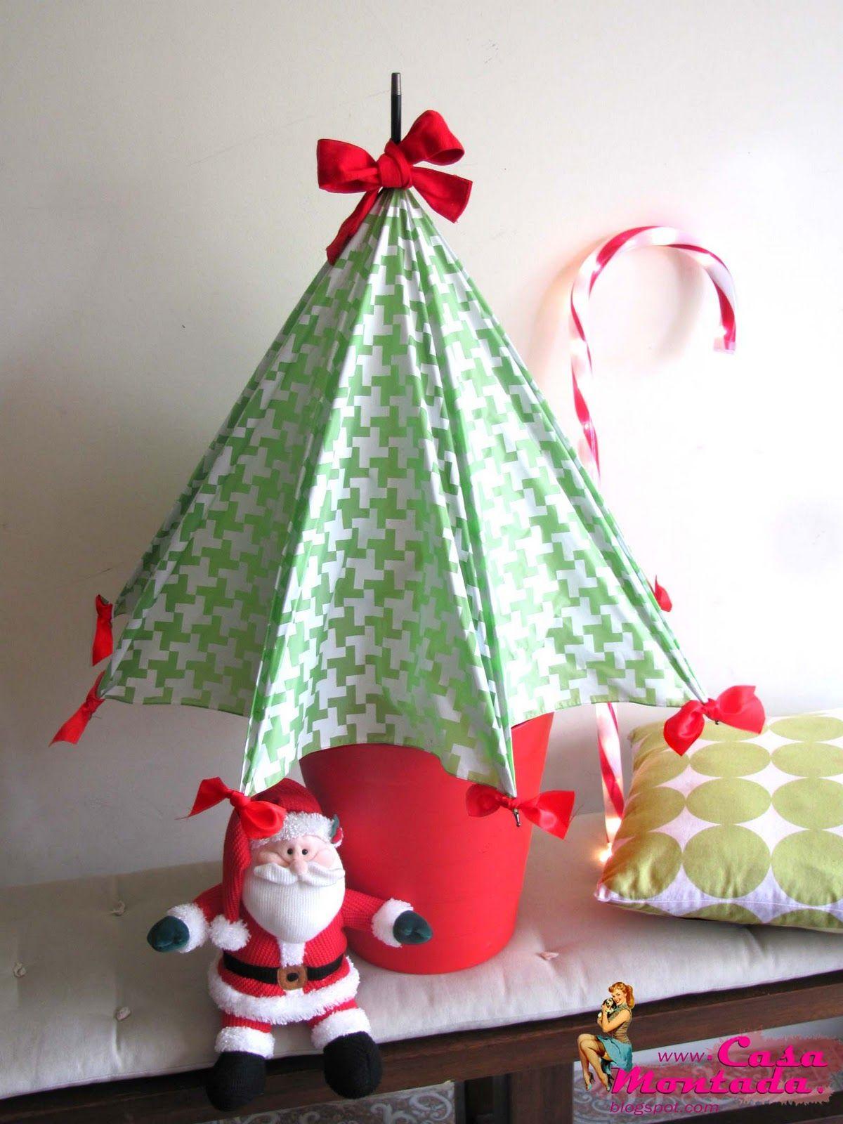 casa montada diy umbrella christmas tree - Umbrella Christmas Tree