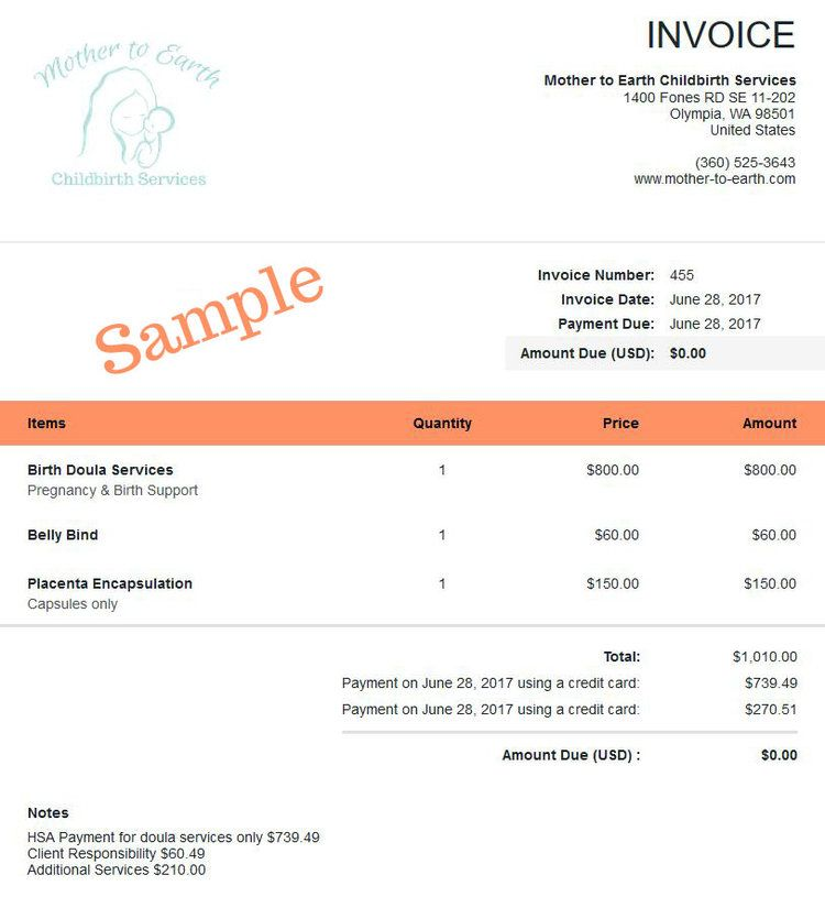 Sample Invoice Hsa Health Savings Account Doula Doula Services