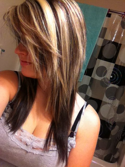 Blonde And Some Brown Highlights On Top With Dark Brown