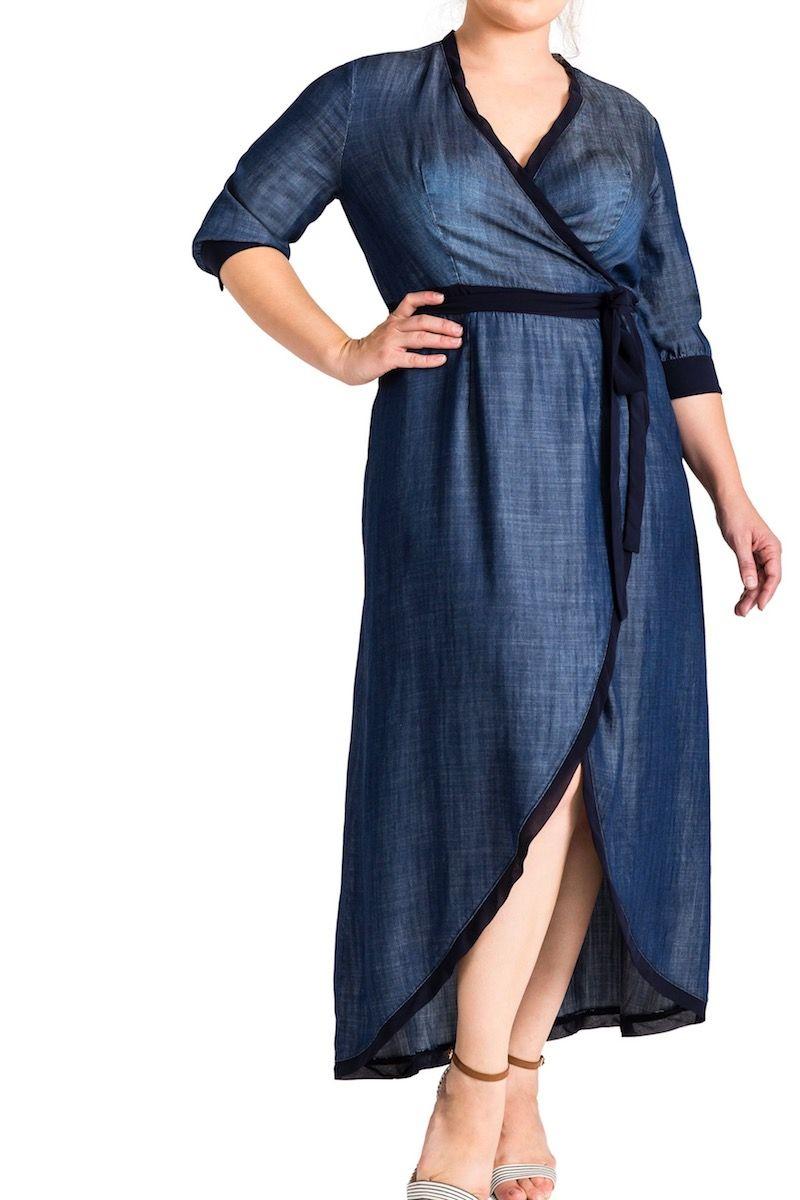9661f722c6e Standard   practices elle denim maxi dress plus size