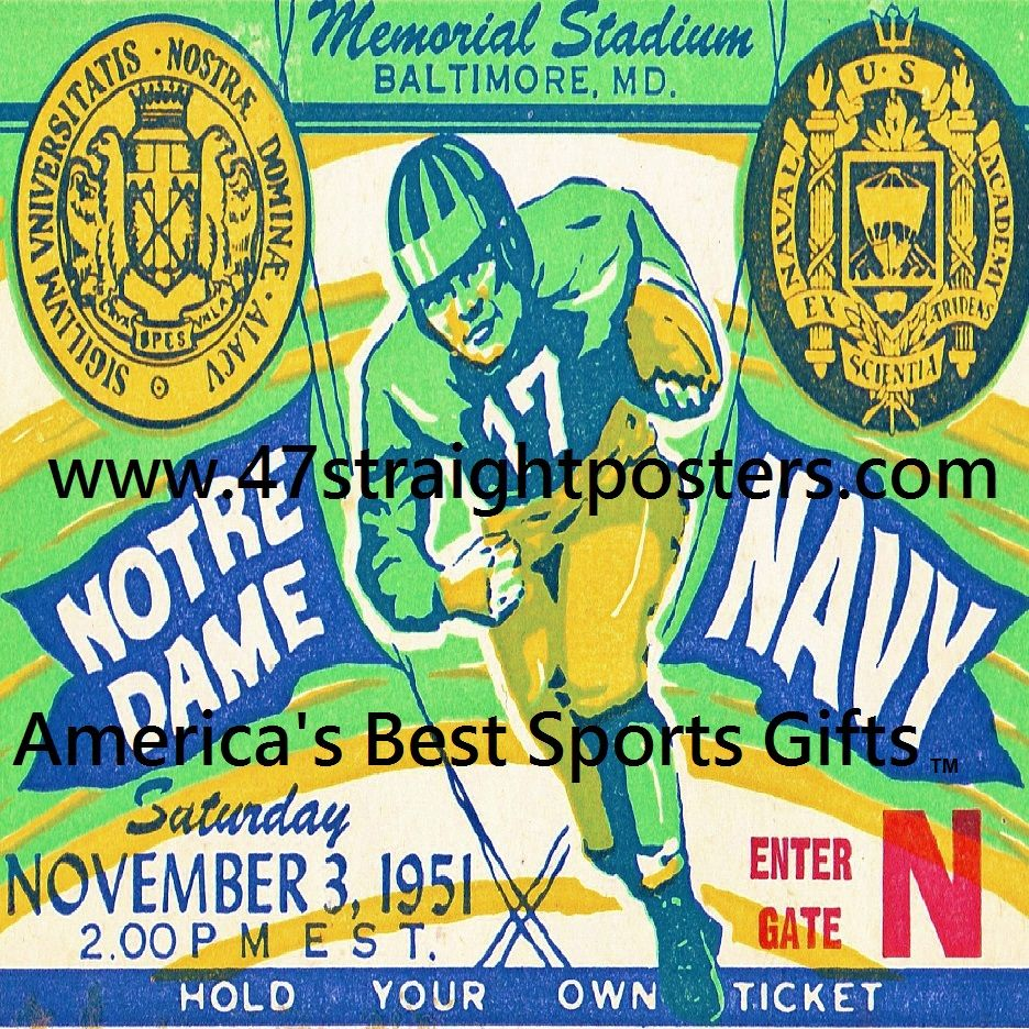 Smm Pinterest Pins 1951 Notre Dame Vs Navy Football Ticket