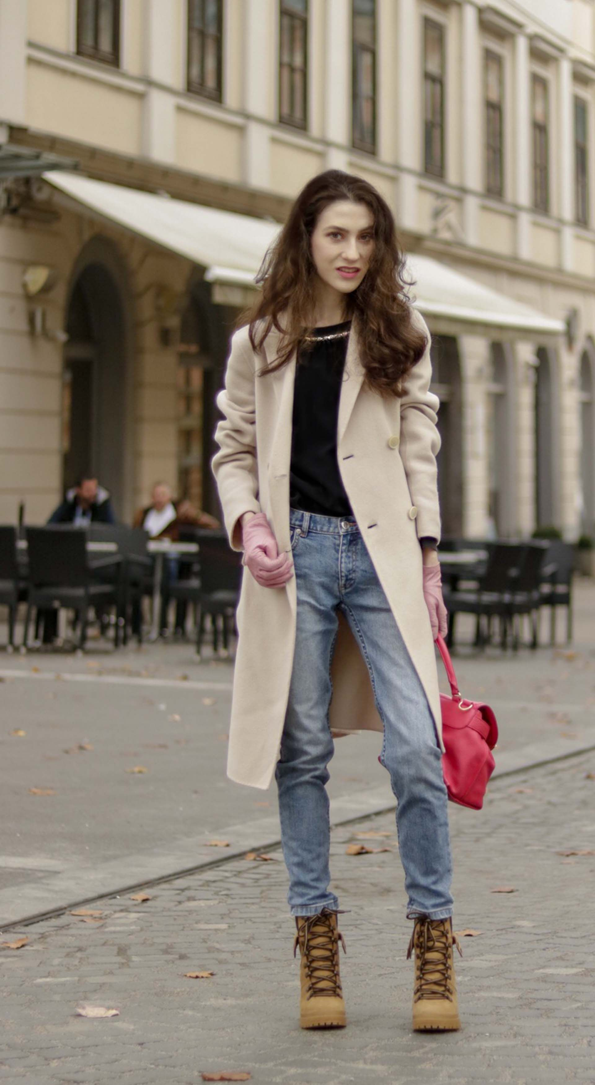 c3ae540b Beautiful Slovenian Fashion Blogger Veronika Lipar of Brunette from Wall  Street wearing Weekend Max Mara double-breasted coat, A.P.C. blue denim  jeans, ...