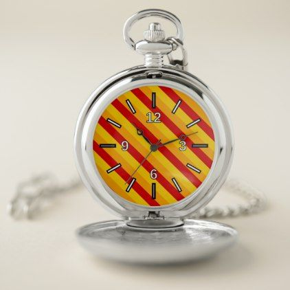 red orange yellow stripes pattern pocket watch red gifts color