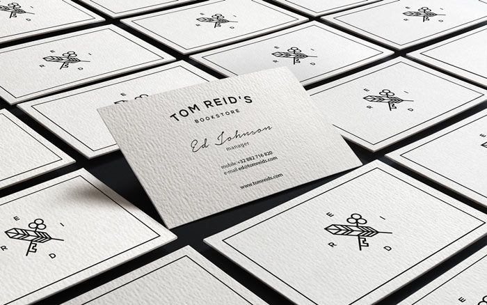 Black and white business cards.