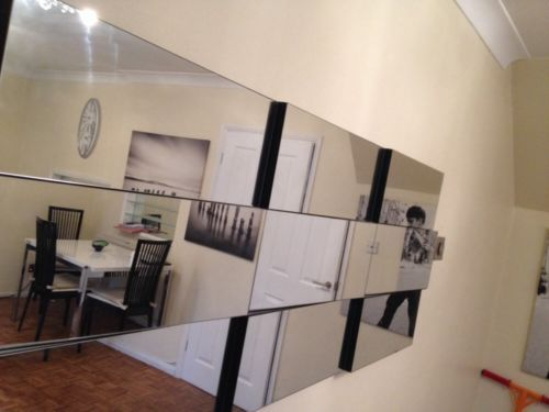LARGE MODERN SILVER MULTI FACETED RECTANGLE WALL MIRROR ...
