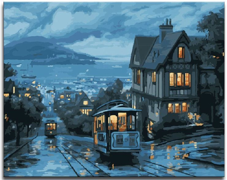 Night street diy digital paint drawing kit oil painting for Digitally paint your house