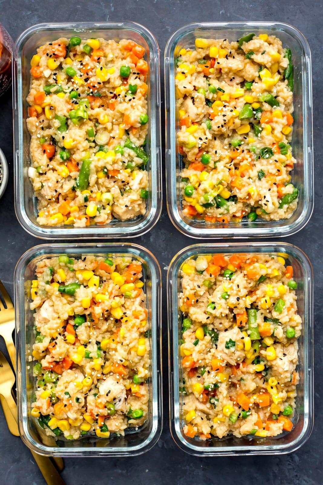 Instant Pot Chicken Fried Rice Meal Prep Bowls - The Girl on Bloor