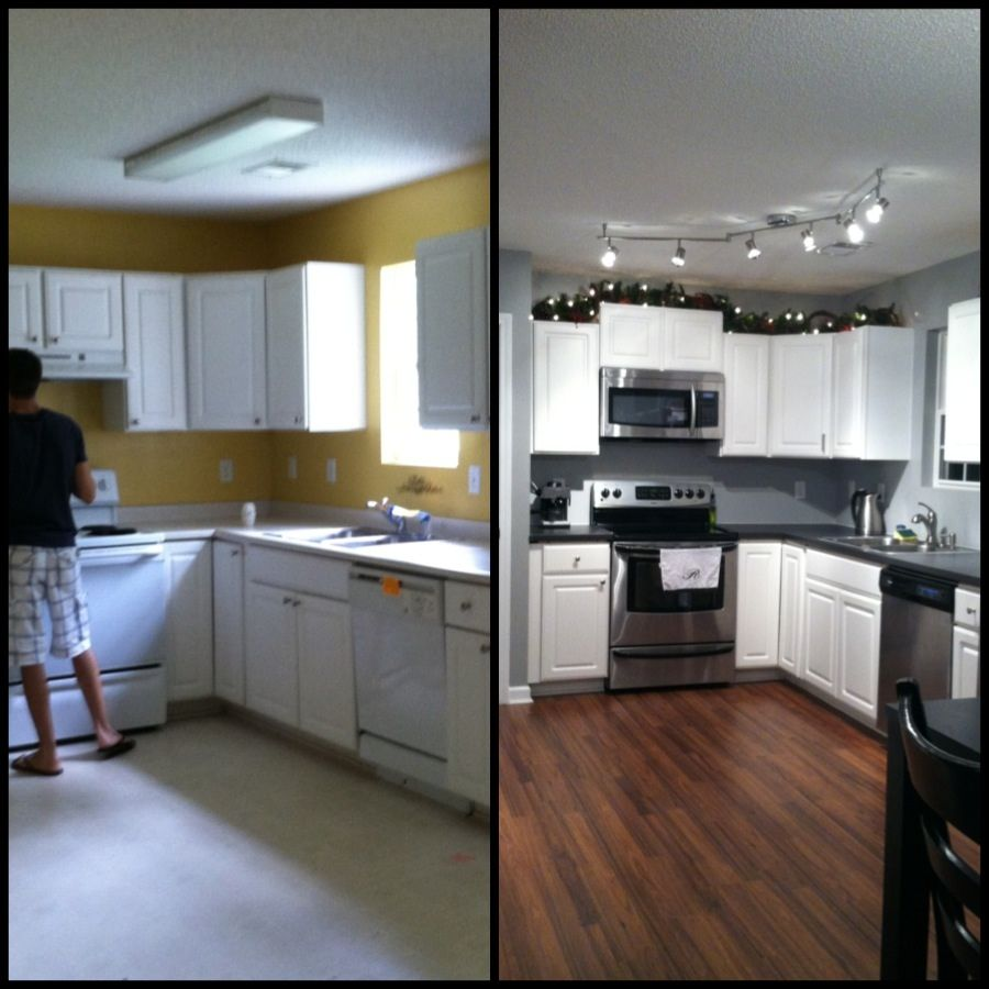 Small kitchen remodel before and after on pinterest for Kitchen floor remodel ideas